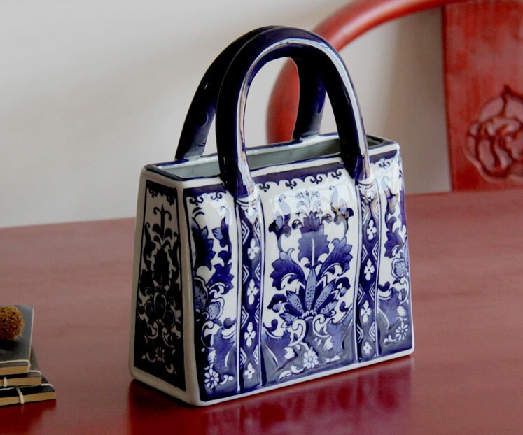 Chinese-style Blue And White Ceramic Handbag Shape Vase Porcelain Vases For Artificial Flower Decoration Vases