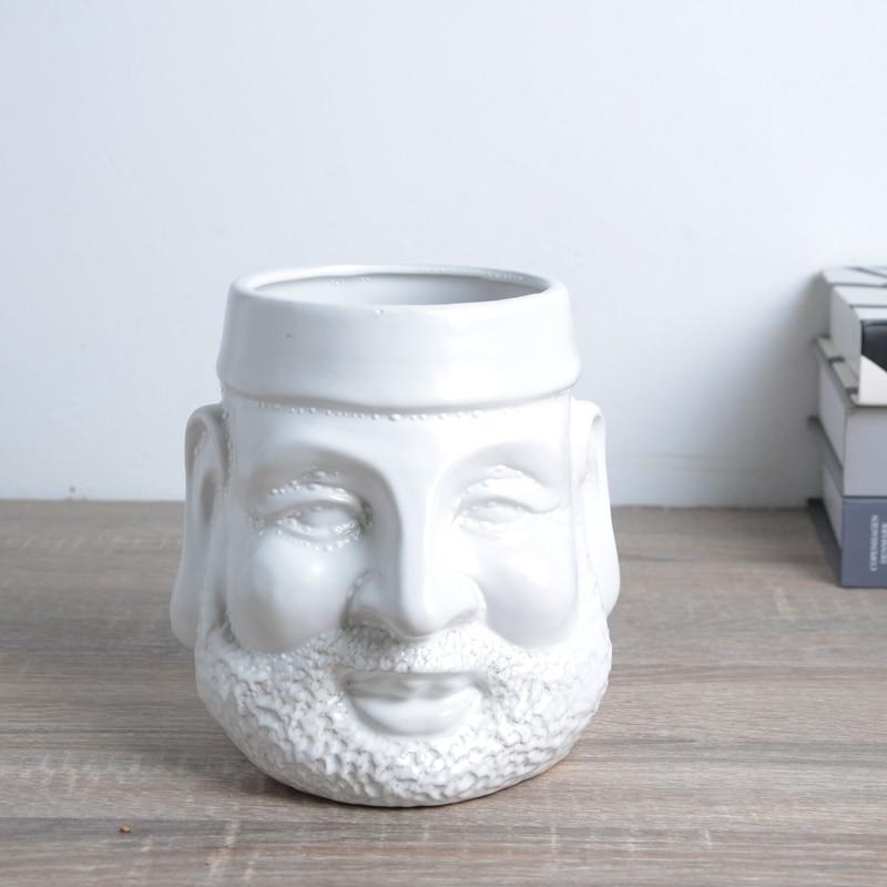 Nordic Human Face Ceramic Flower Basin Face Multi-meat Green Plant Flower Pot Vase Retro Vase Home Decoration Desktop R5200