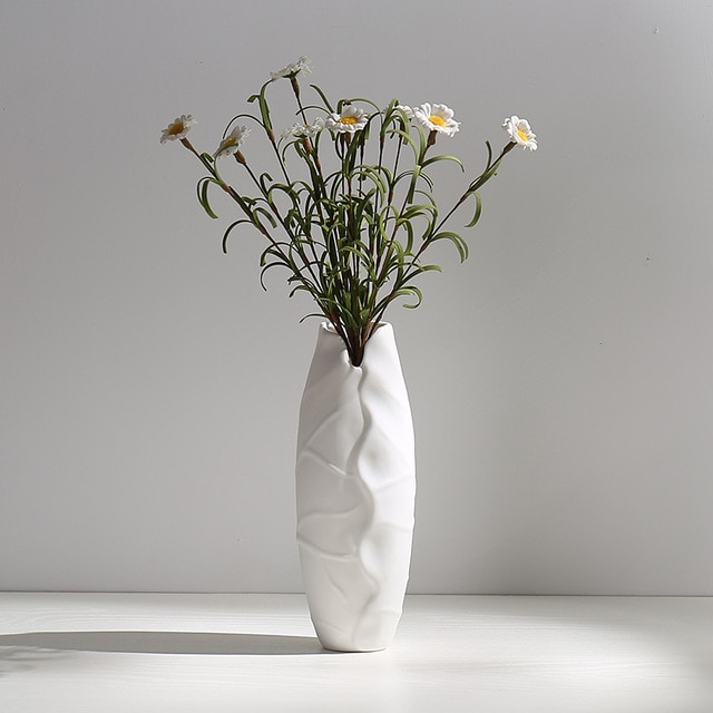 Ceramic Dried Flower Vase White Flower Vase Inserted Modern White Table Vases Living Room Home Decoration Ornaments Vases