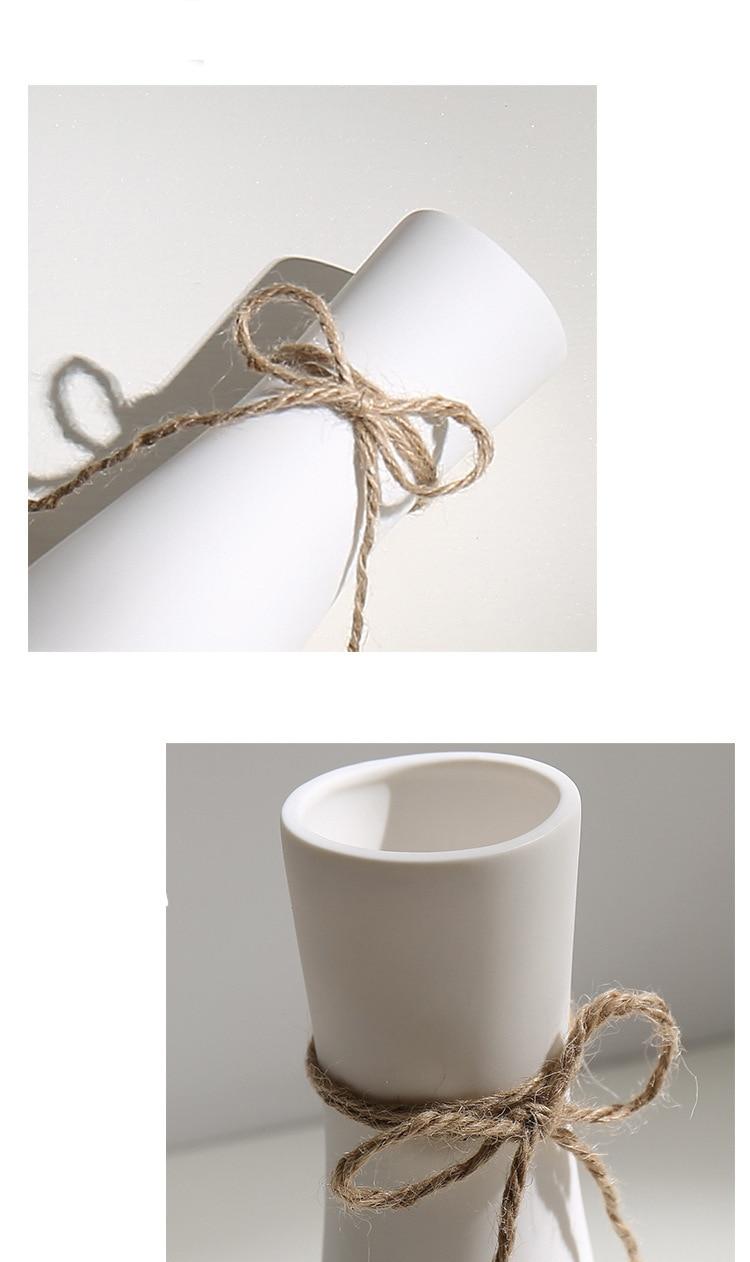 Ceramic Dried Flower Vase White Flower Vase Inserted Modern White Table Vases Living Room Home Decoration Ornaments Vases