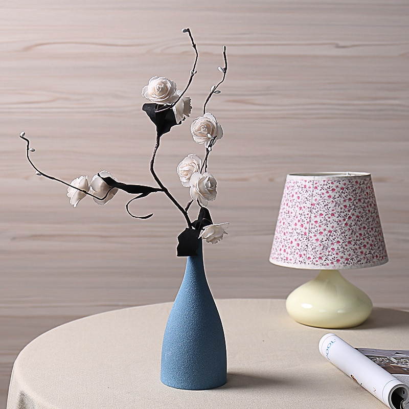 Simple Home Accessories Ornaments European Frosted Blue Black Ceramic Vases Flower Insert Crafts  Decorativos Moderno