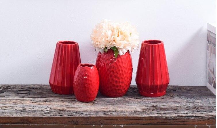 1Pcs Red drum ceramic vase home wedding festive decoration modern simple living room flower storage decorative ornaments