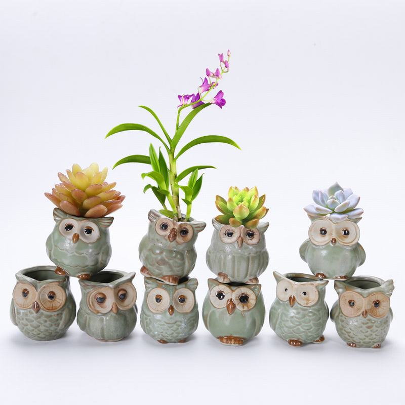 Creative Ceramic Owl Shape Flower Pot Cute Mini Succulents Flower Pot Flower Planting Ceramic Desk Flower Pot Garden Decoration