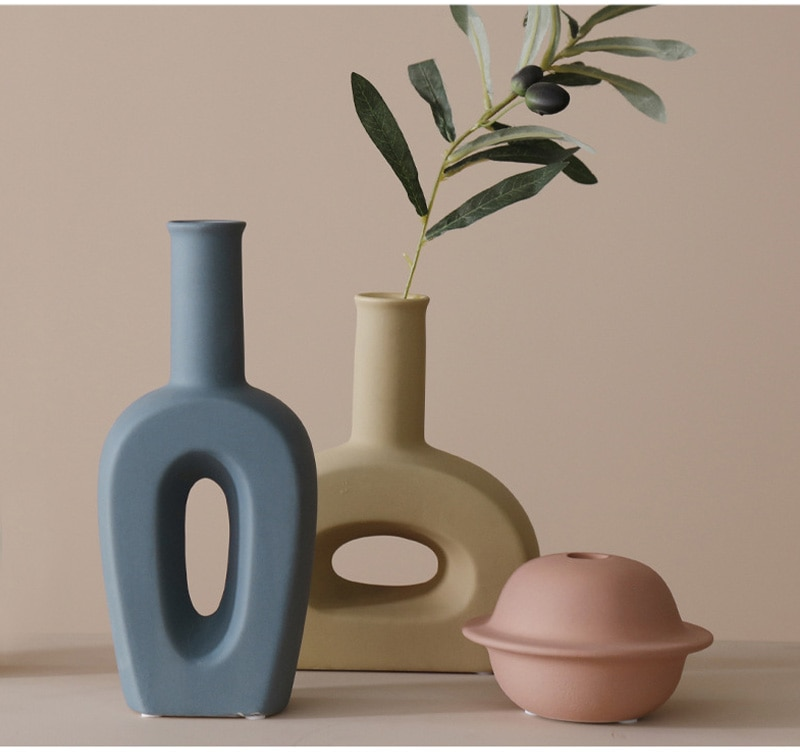 Multicolor Nordic Ceramic Vase For Home Decoration Living Room Display Hydroponic Desktop Decor Vase Plants Holder Wedding Gifts