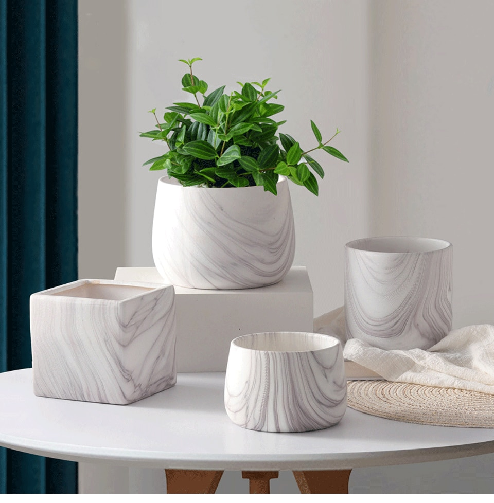 New Modern Creative Marble Pattern Ceramic Flower Pot Simple Green Plant Potted Gardening Planter Living Room Home Decoration