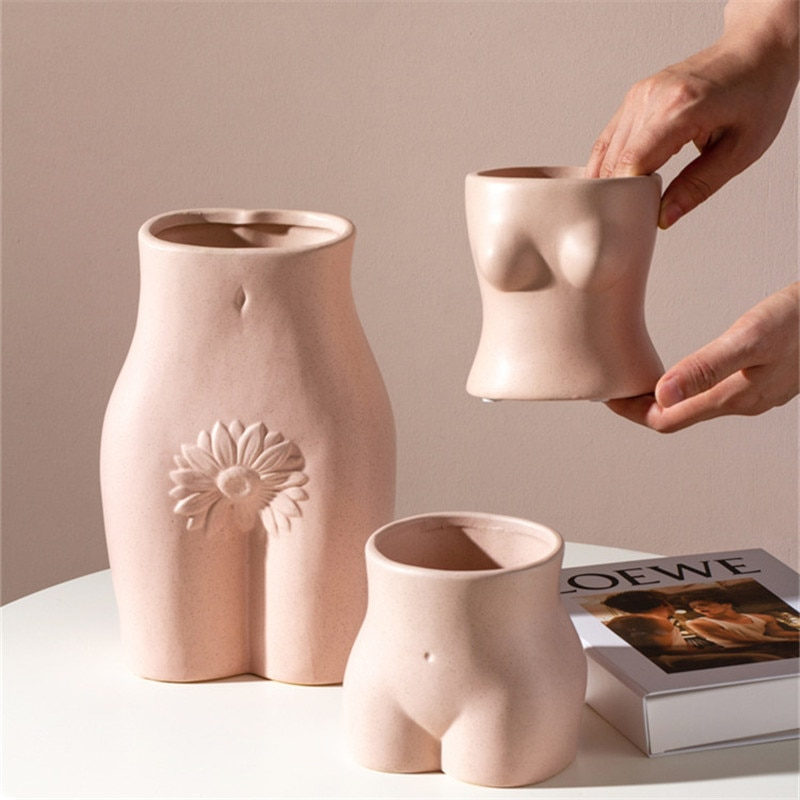 Bao Guang Ta Body Art Vase Boobs Ass Ceramic Vase Sculpture Ornaments Crafts Creative Abstract Hobby Flower Pot Home Decor R5547