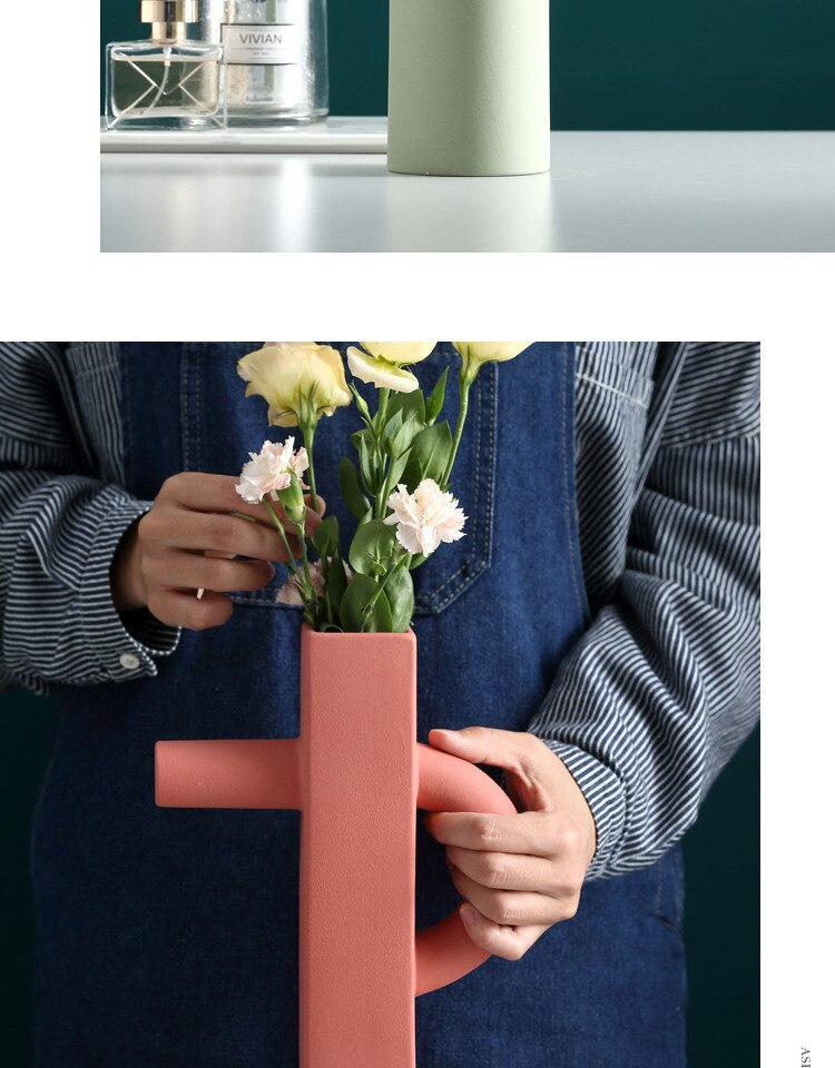 Creative Nordic ceramics vase abstract geometric Flower arrangement Modern home decorations Crafts ornaments flower vases