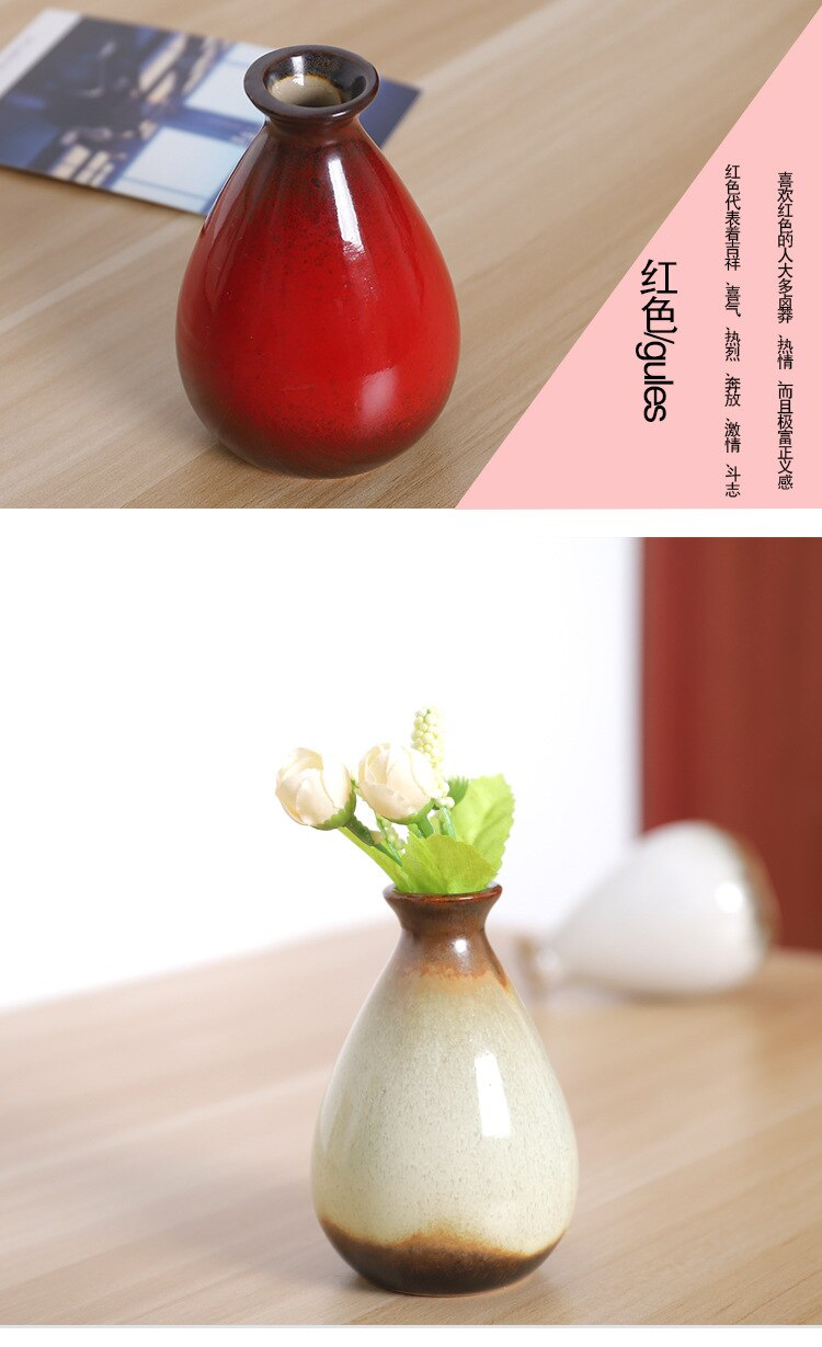 Mini Ceramic Vase Hand Painted Green Plant Flower Arrangement Creative Bedroom Modern Home Decoration