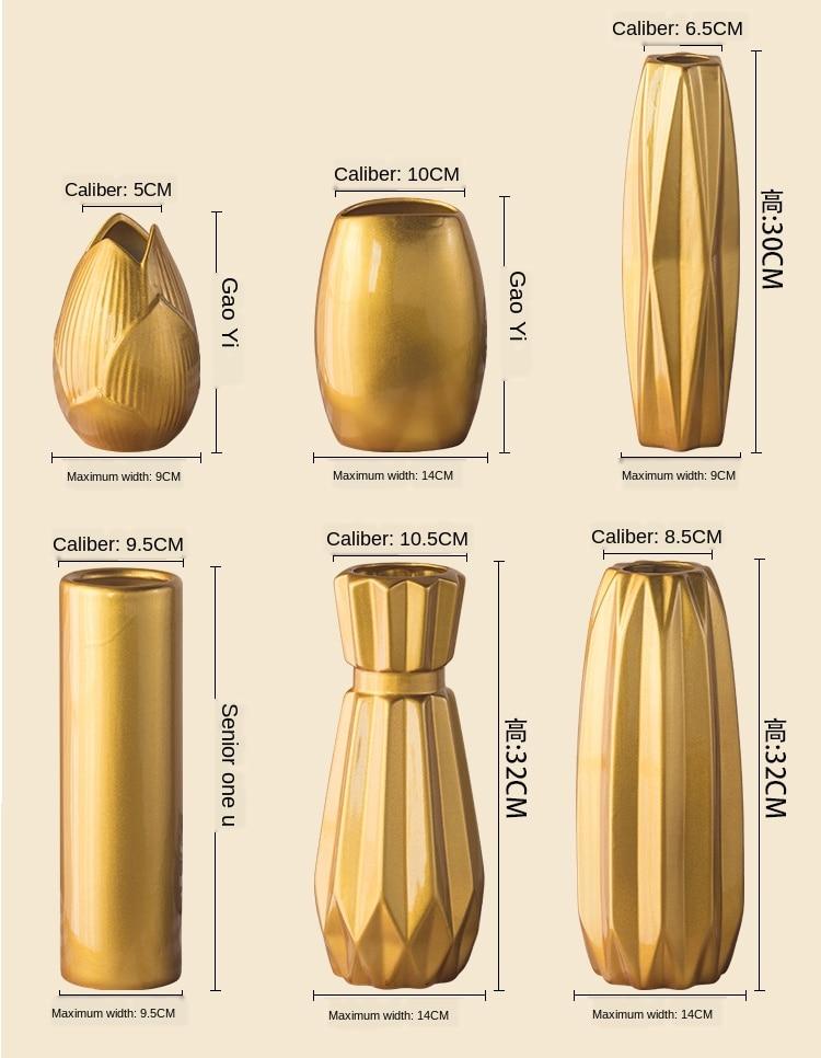 Luxury Europe Gold-plated Ceramic Vase Home Decor Creative Design Porcelain Decorative Flower Vase For Wedding Decoration