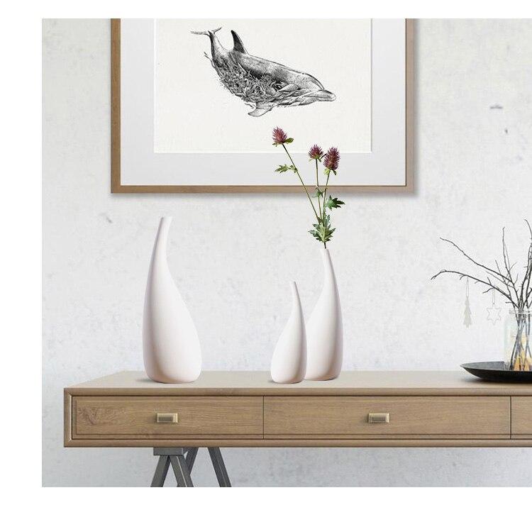 Nordic decoration home white flower vase ins small fresh simple modern living room home decoration flower arrangement Ceramics
