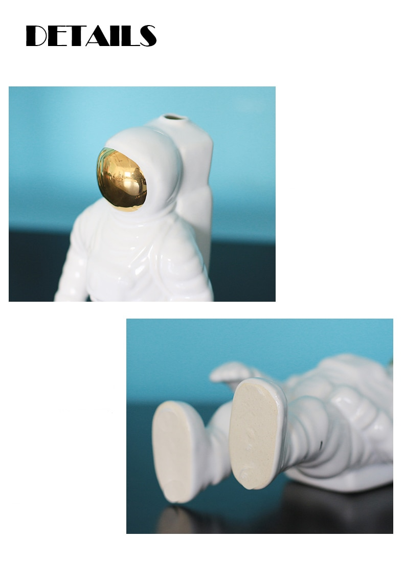 GIEMZA Space Man Vase Astronaut White Vase Golden 1pc Ceramic Ornaments Model Nordic Style for Sky Flowers Hydroponics