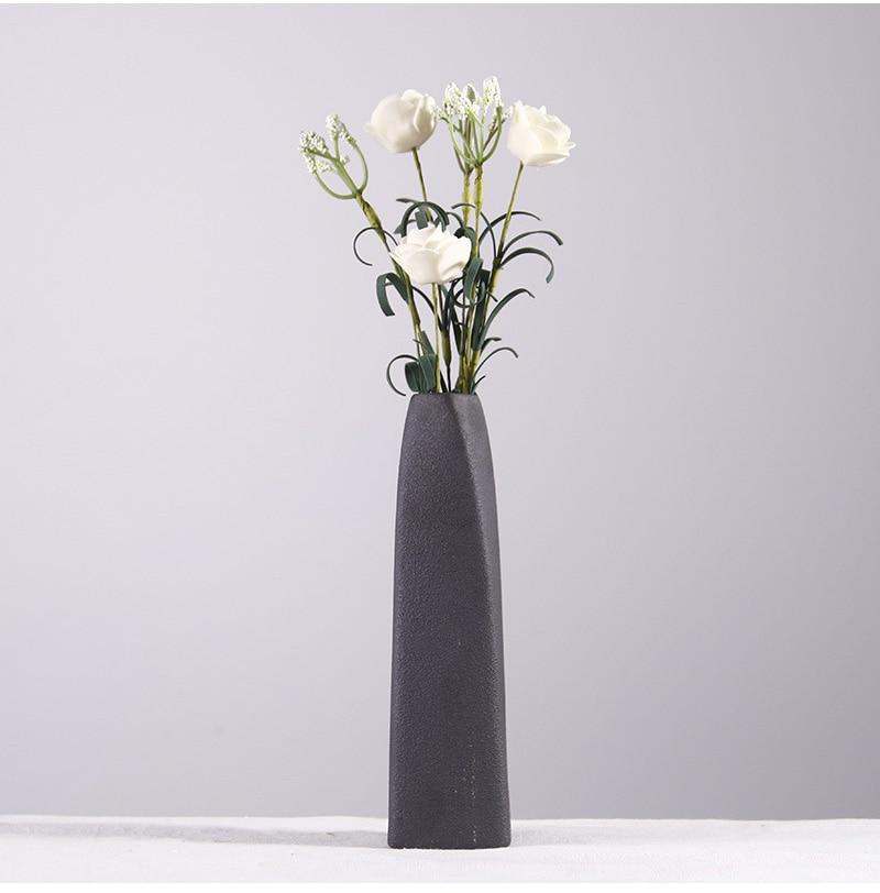 Creative Buddhist Black Ceramic Flower Vase Home Decoration Modern Art Flower Vase Plant Holder Desk Hydroponics Decor Figurine