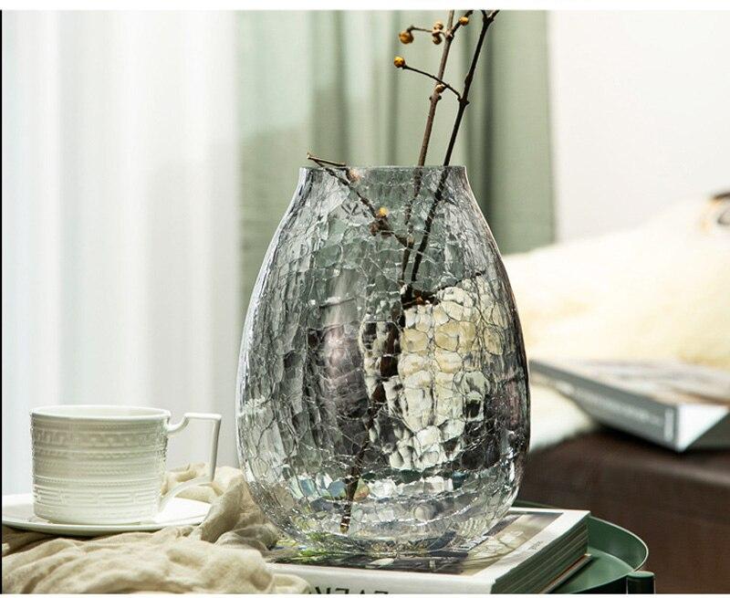 Nordic Luxury Glue-etched Glass Flower Vase Home Decoration Modern Art Flower Vase Plant Holder Desk Hydroponics Room Decor