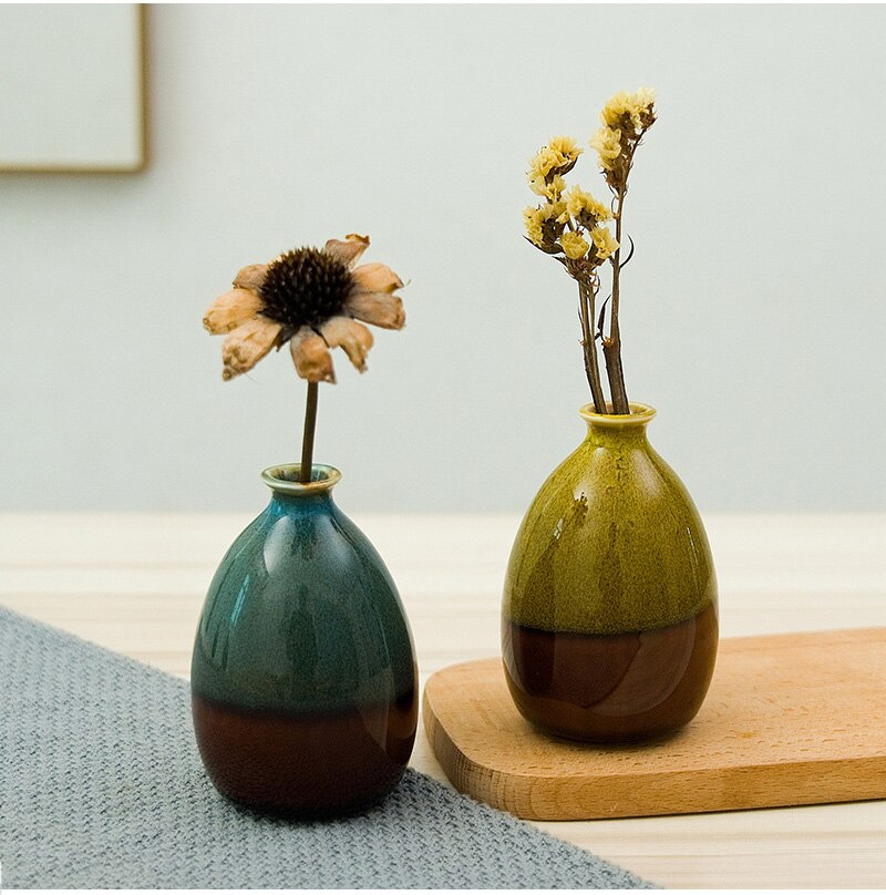 Chinese Vintage Ceramic Flower Vase Creative Ceramic Hydroponic Device Contracted Desktop Ornament Home Decoration Accessories