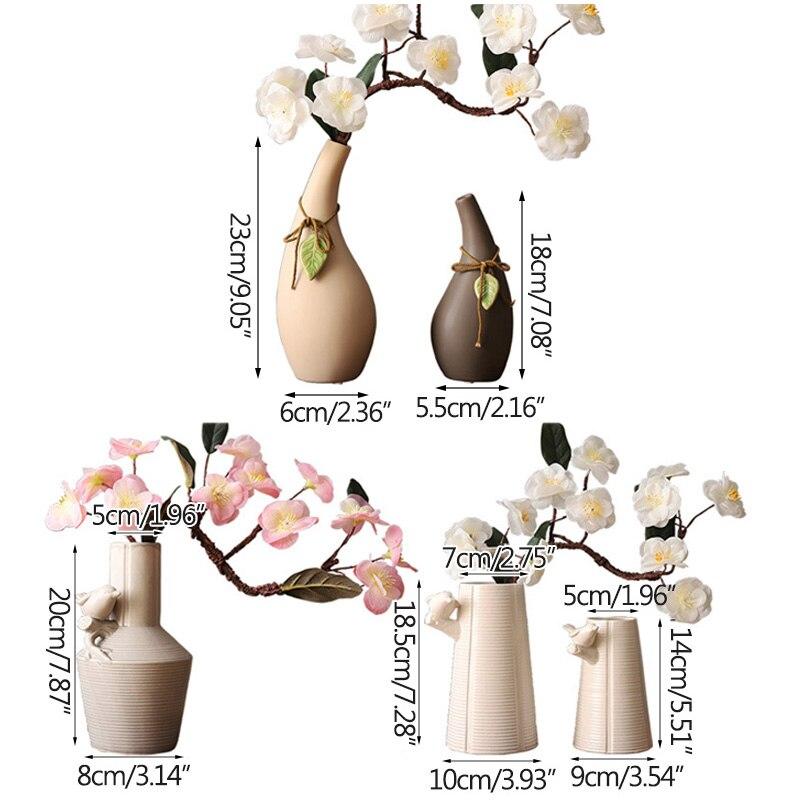 Japanese Handmade Ceramic Flower Vase Creative Ceramic Hydroponic Device Desktop Ornament Home Decoration Accessories