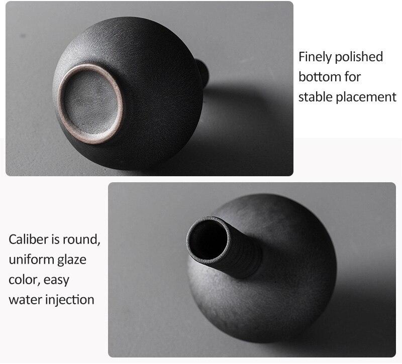 Vintage Black Ceramic Flower Vase Creative Ceramic Hydroponic Device Contracted Desktop Ornament Home Decoration Accessories