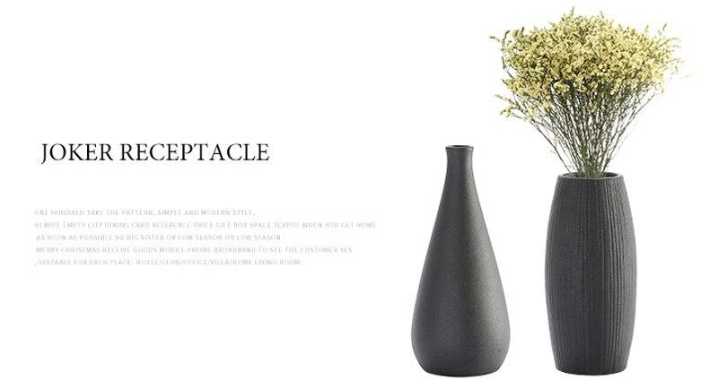 Contracted Black Ceramic Flower Vase Creative Ceramic Hydroponic Device European Desktop Ornament Home Decoration Accessories