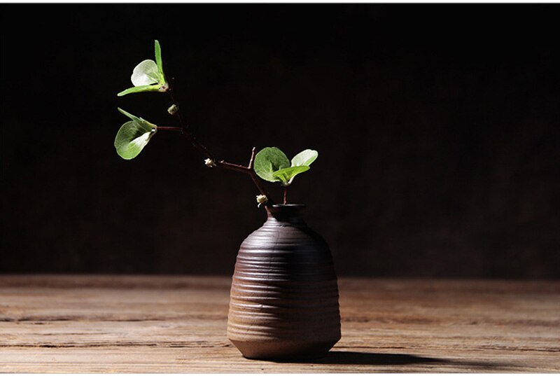 Creative Vintage Crude Pottery Flower Vase Ceramic Hydroponic Device Contracted Desktop Ornament Home Decoration Accessories