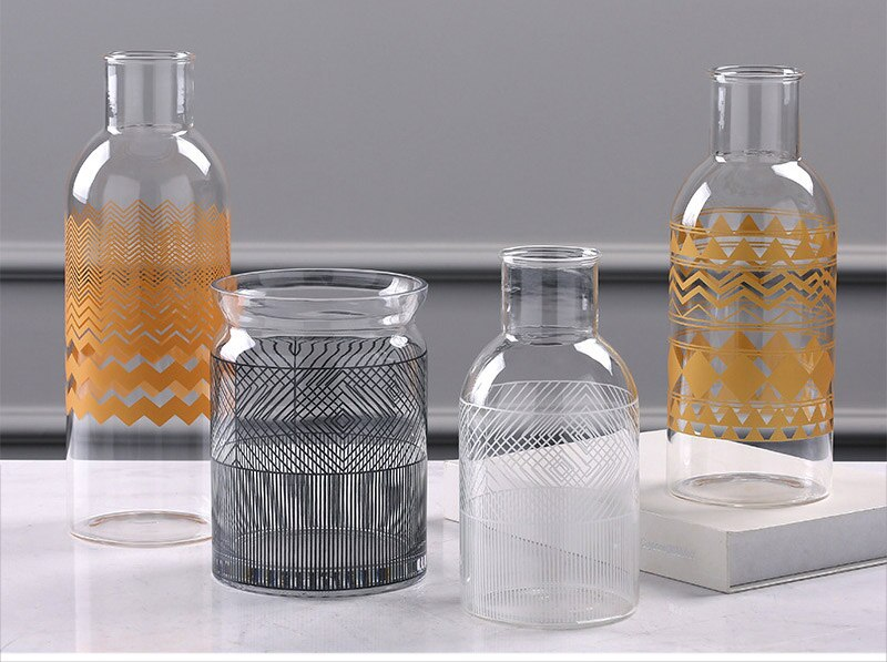 Nordic Applique Glass Flower Vase Home Decoration Flower Vase Plant Holders Desk Decoration Hydroponics Decor Figurine