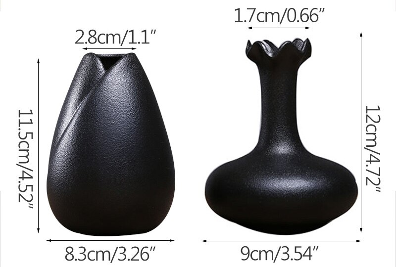 Vintage Manual Black Ceramic Flower Vase Creative Ceramic Hydroponic Device Contracted Desktop Decor Home Decoration Accessories