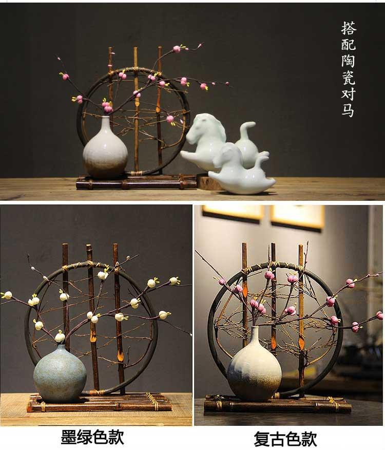 Bamboo ceramic vase new Chinese Zen decoration handmade bamboo tea parlor antique shelf gift  flower vases for homes