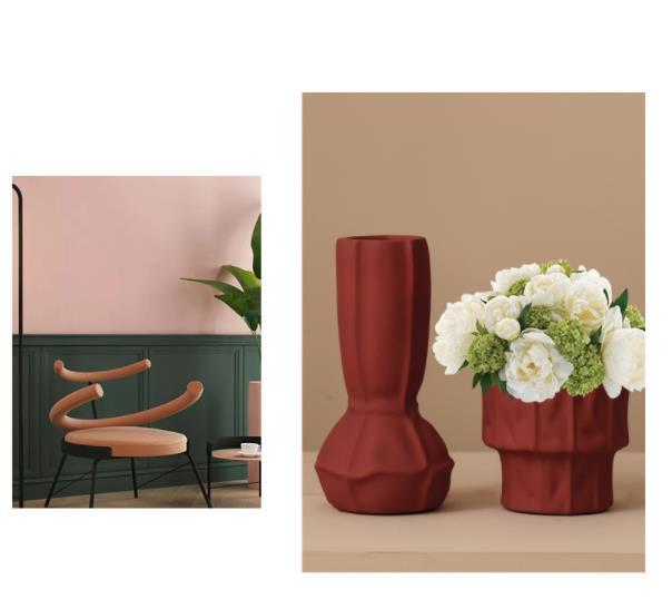 Flowers Vase Nordic Style Ceramic Vase Villa Model Room Vase Flowers Designer Furnishing Decoration Home Vase For Flowers