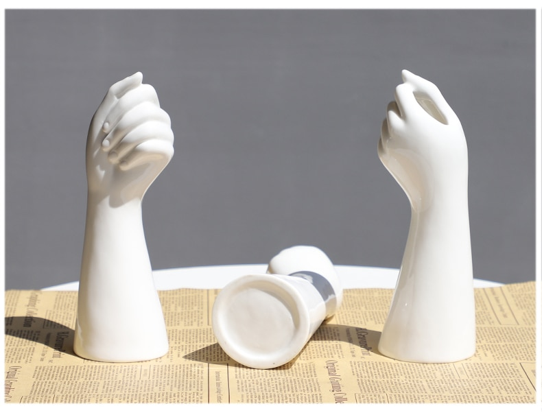 GIEMZA Hands Ceramic White Vase Decor Blender No Plant Flower 1pc Hydroponics Cemetery Stand Unique Vases Office Table