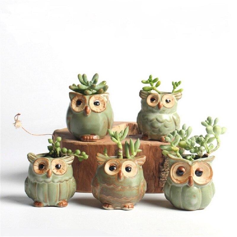 5Pcs Quality Cute Small Owl Shaped Flower Pots Ceramic Mini Succulents Pots Creative Home/Garden/Office Decoration Flower Vases