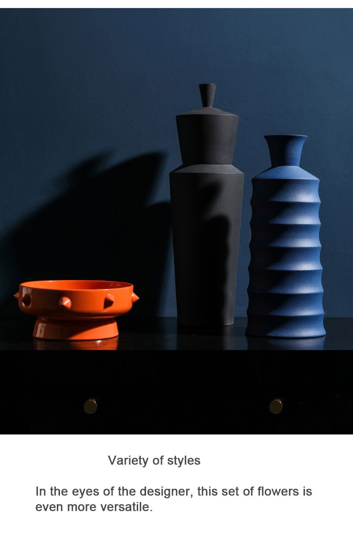 Nordic Modern Semi-manual Ceramic Vase Living Room Coffee Table Decoration Home Decoration Creative Vase Small Gift Deco Maison