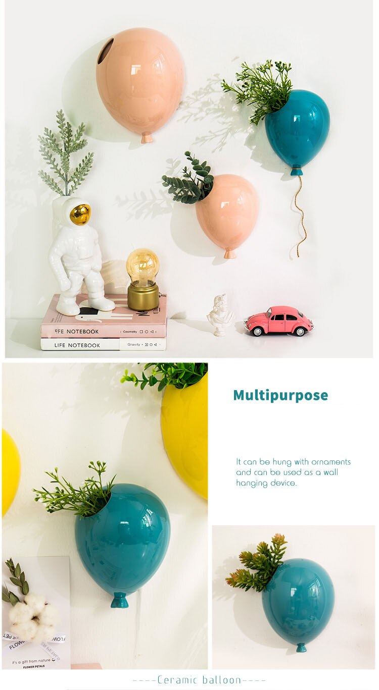 Nordic Creative American Ceramic Balloon Wall Hanging Flower Pot Children's Room Wall Hanging Flower Vase Home Wall Decoration