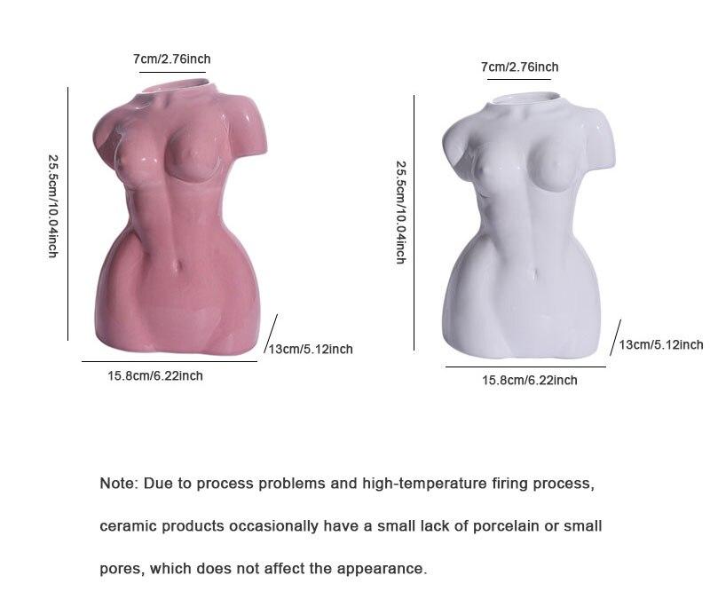 Body art ceramic woman nude sculpture vase creative abstract flower pot home decoration accessories artwork decoration