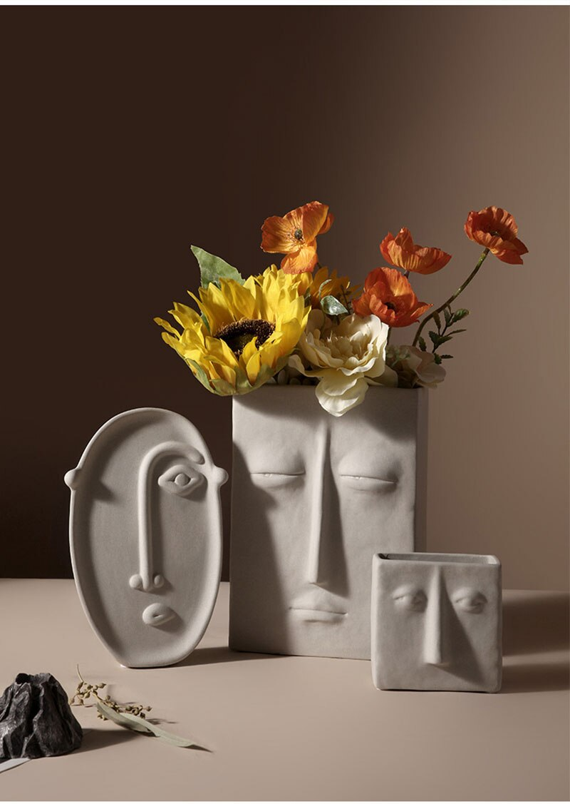 Nordic ins Home Decor Ceramic Vase for Flowers Human Face Design Decoration Home Vase luxury Pot For Dried Flower  white vase
