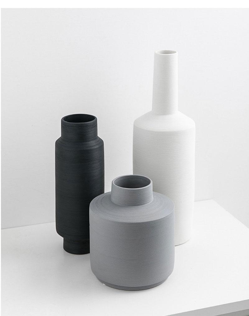 Nordic Minimalist Ceramic Vase Ornament Home Porcelain Flower Figurines Geometric Art Nordic Home Decoration Accessories Vase
