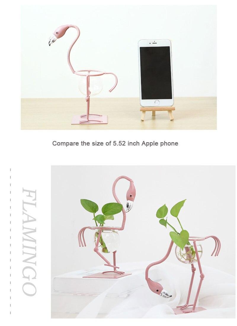 Pink flamingo decoration creative glass desktop hydroponic plant bonsai green vase flower arrangement container home decoration
