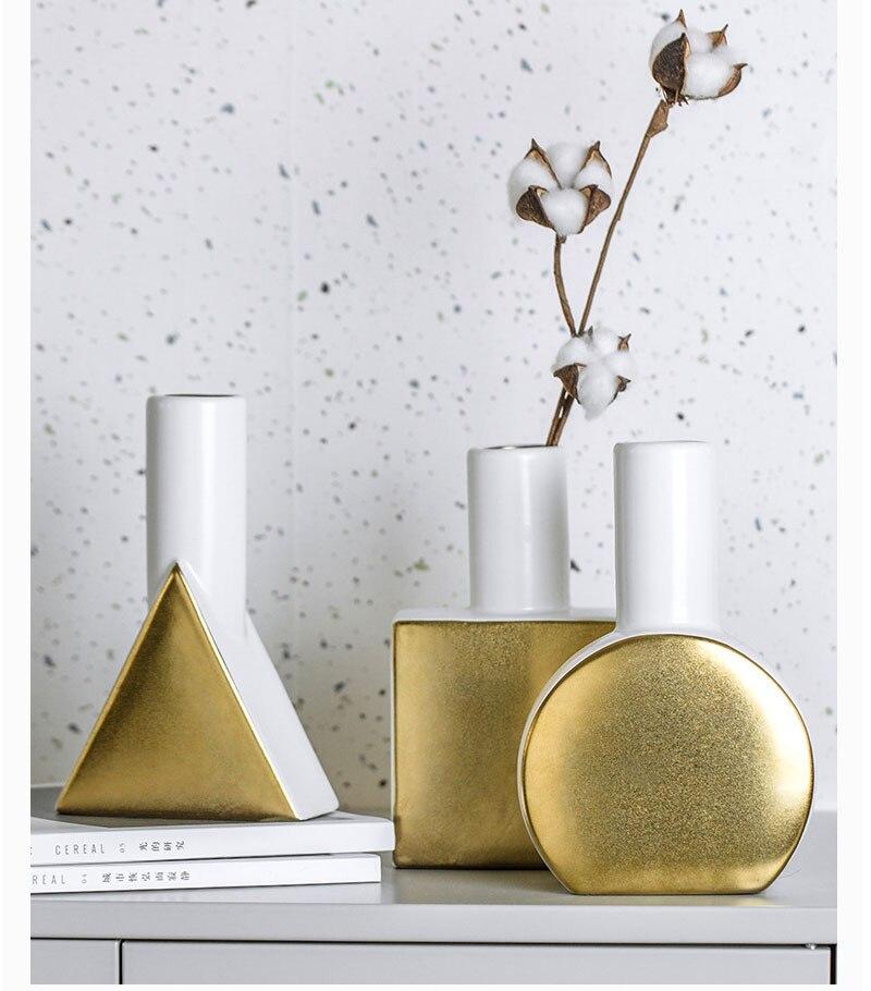 European creative ceramic geometric vase living room living room desktop dried flower flower arrangement home decoration