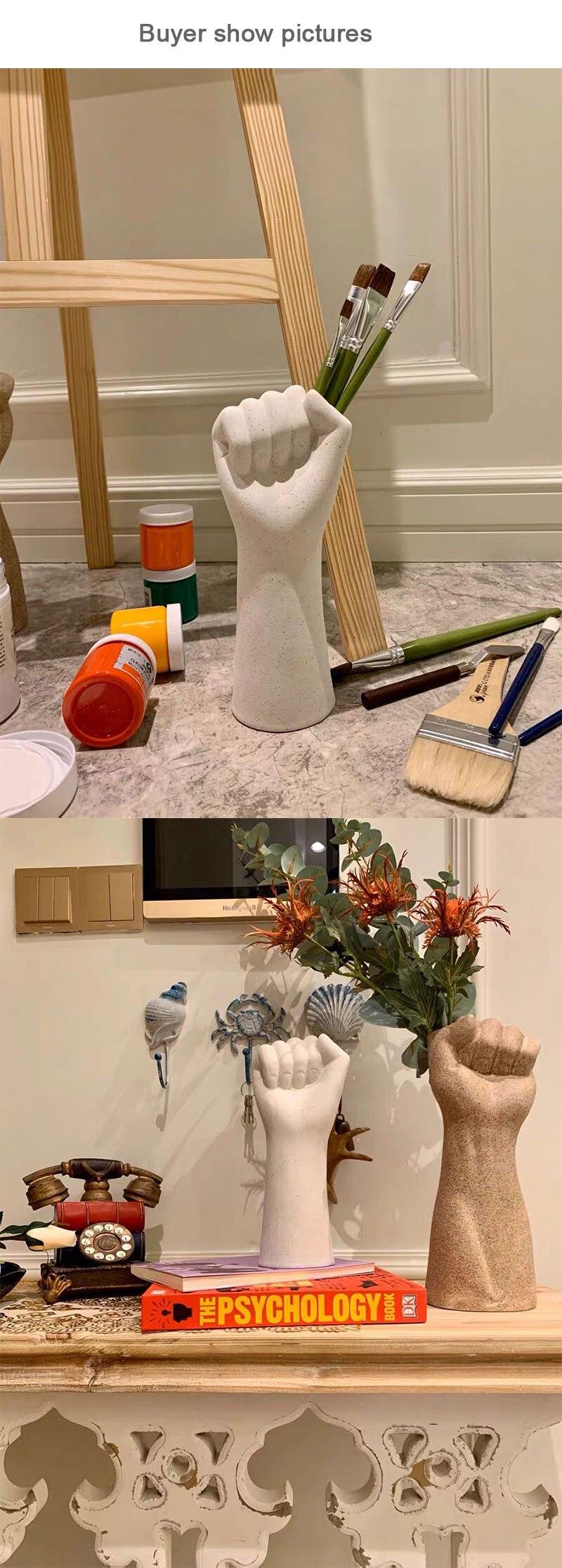 European creative fun arm vase flower arrangement container desktop home decoration accessories ceramic flower office artwork