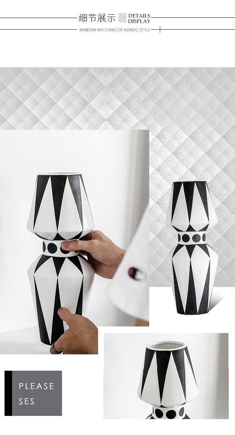 Nordic design creative black and white ceramic vase abstract flower arrangement flower retro desktop home craft decoration