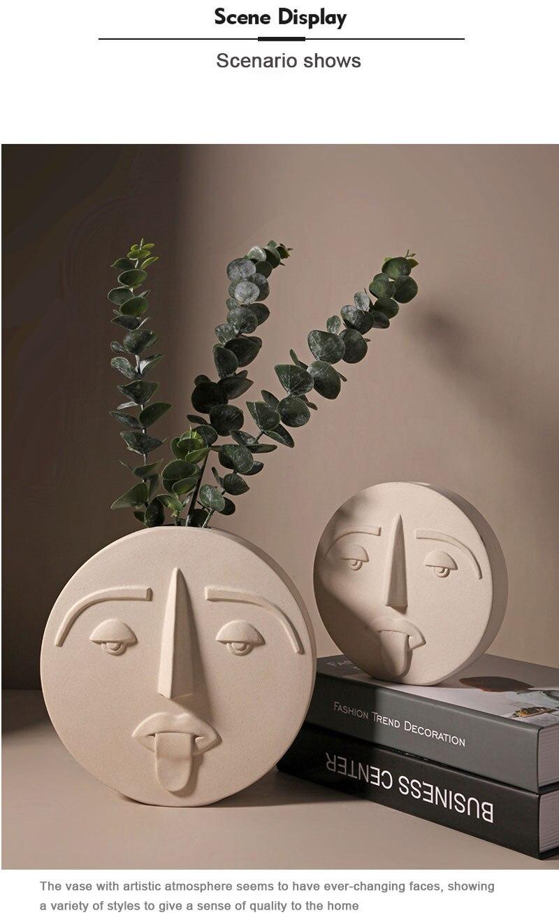 Nordic ins creative face design ceramic ornaments simple flower arrangement dried flowers living room home decoration vase