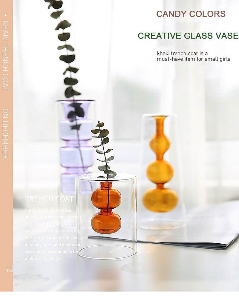 Nordic Ins Double-Layer Stained Glass Vase Hydroponic Flower Vase Home Decoration Christmas Gift Wedding Desk Decoration Bonsai