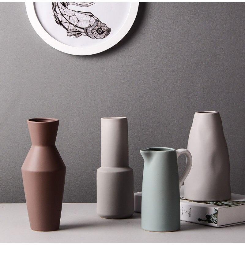 Nordic ins ceramic vase modern hydroponic dried flower flower arrangement flower decoration desk living room home decoration