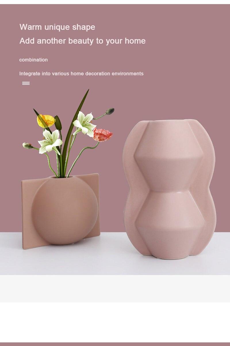 Nordic Morandi vase ins round ceramic living room dining table desktop decoration dried flower container home decoration