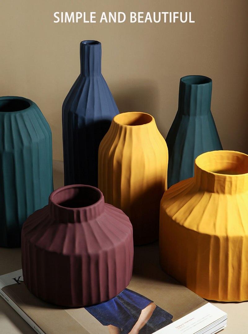 Nordic Ins Ceramic Art Vase Creative Dried Flower Pot Flowers Porcelain Crafts Gifts Table Decoration Vases Wedding-decoration