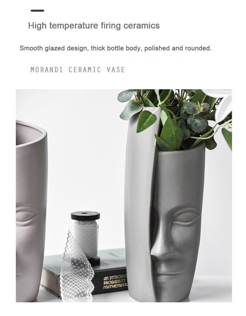 Nordic face art vase living room flower arrangement ceramic retro artificial flower home decoration abstract vase furnishings