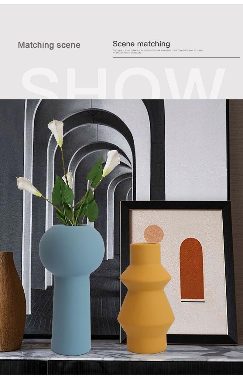 Nordic ins Morandi color ceramic vase living room furnishings desktop dried flowers flower arrangement container home decoration
