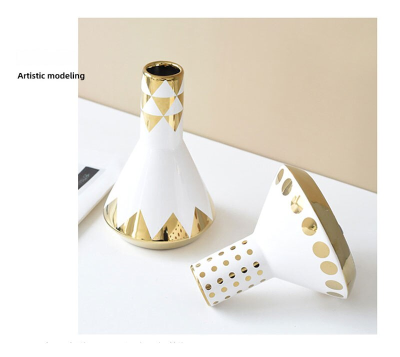 Nordic style geometric gold ceramic vase living room home decoration furnishings bedroom bedside table desktop decoration crafts