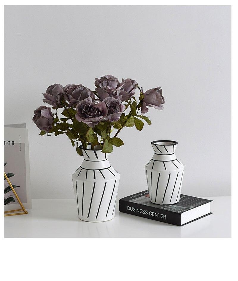 Modern minimalist ceramic vase black and white hand-painted dried flowers floral creative home decoration desktop vase ornaments