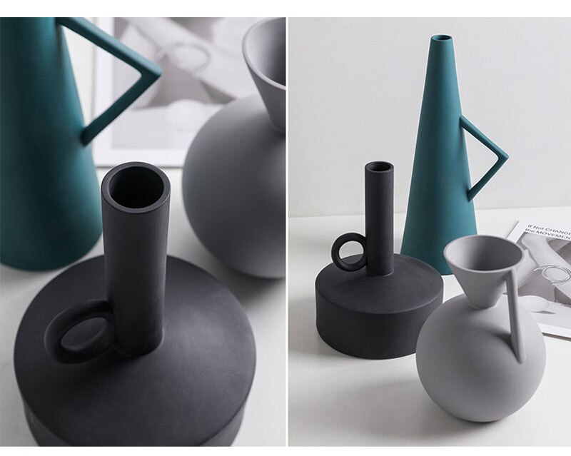 Nordic ins ceramic vase creative decoration home decoration living room flower arrangement geometric art decoration flower room