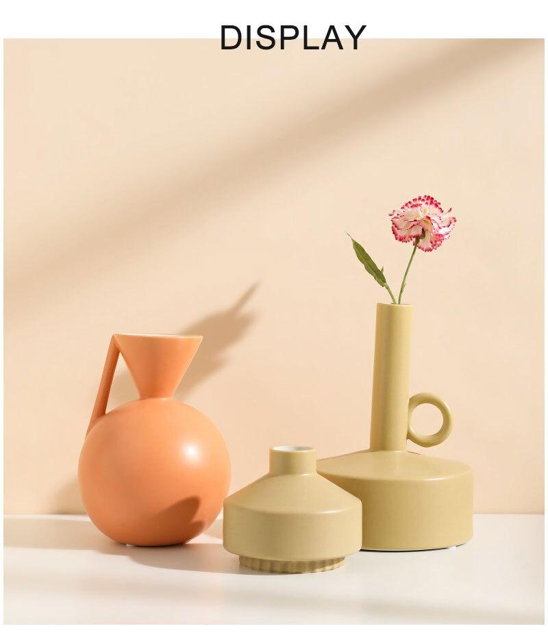 Nordic ins Minimalist Ceramic Vase Ornament Home Porcelain Flower Figurines Geometric Art Nordic Home Decoration Accessorie Vase
