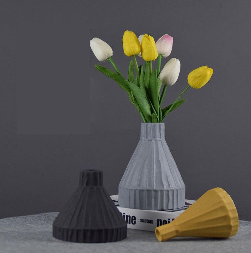 Nordic ins Morandi ceramic vase simple living room porch dining table flower arrangement dried flower flower home decoration