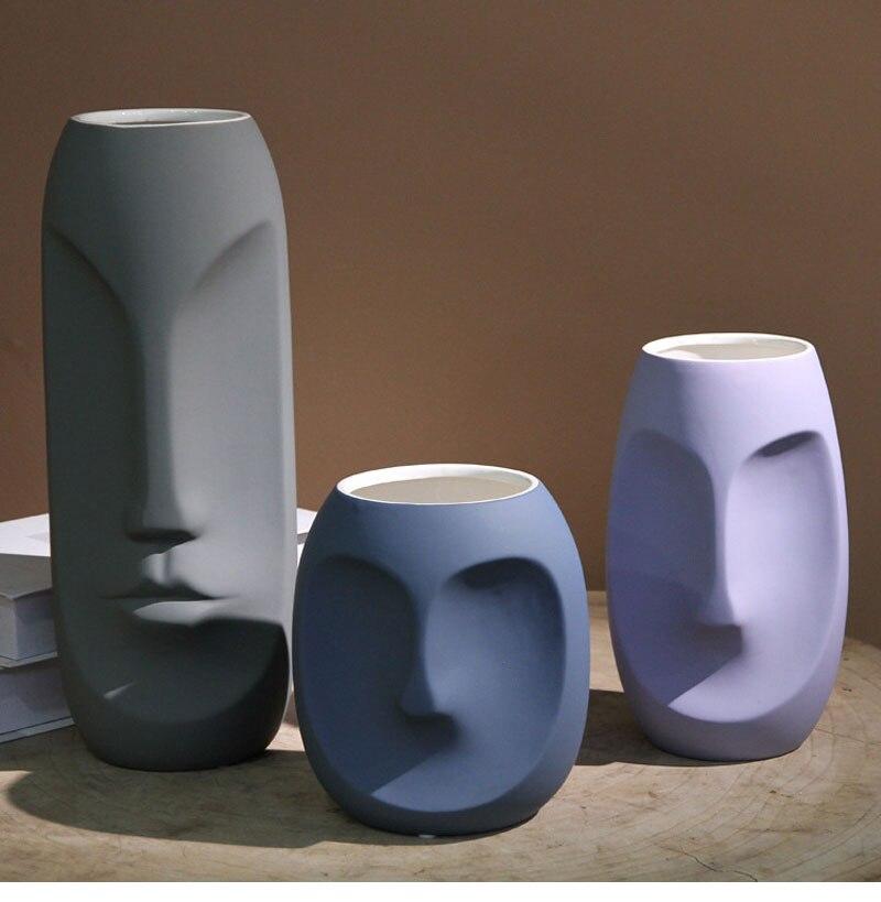 Creative Abstract Desktop Vase Ceramic Morandi Vase Decoration Home Room Decoration European Modern Simple Vase Crafts Gift
